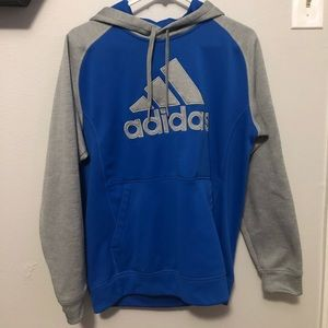 Adidas hoodie. Grey and blue. Medium.
